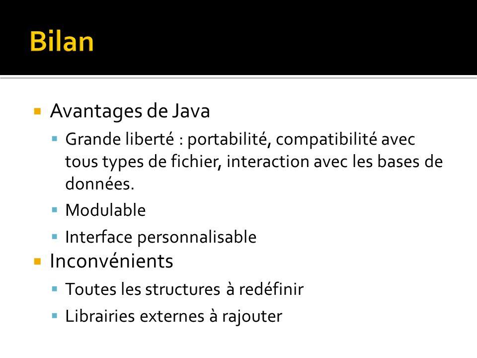 Avantages de Java Grande liberté : portabilité, compatibilité avec tous types de fichier, interaction avec les bases de données.
