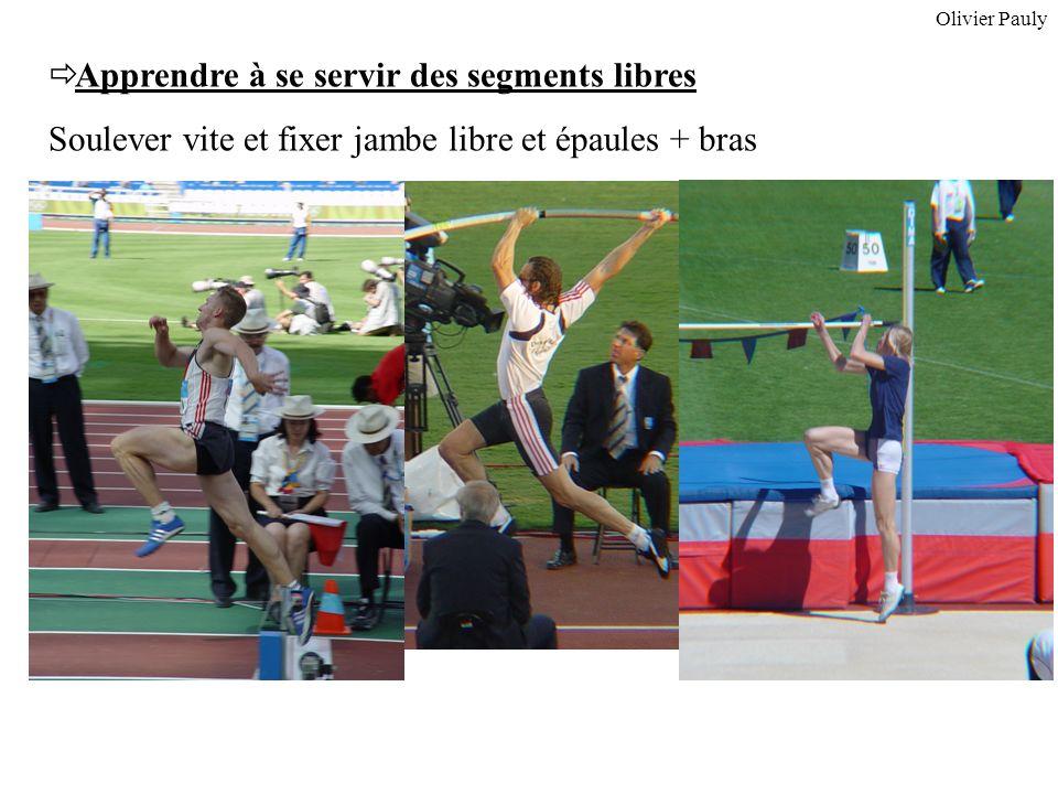 Apprendre à se servir des segments libres Soulever vite et fixer jambe libre et épaules + bras Olivier Pauly