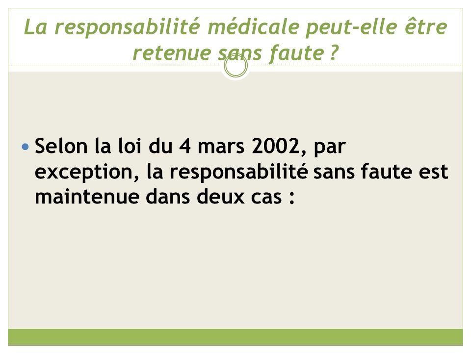 La responsabilité médicale peut-elle être retenue sans faute .