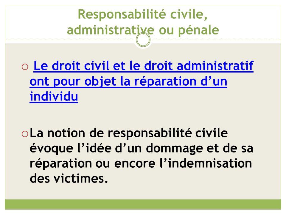 Responsabilité civile, administrative ou pénale Plus précisément, elle est couramment définie comme lobligation mise à la charge dun responsable de réparer les dommages causés à autrui.
