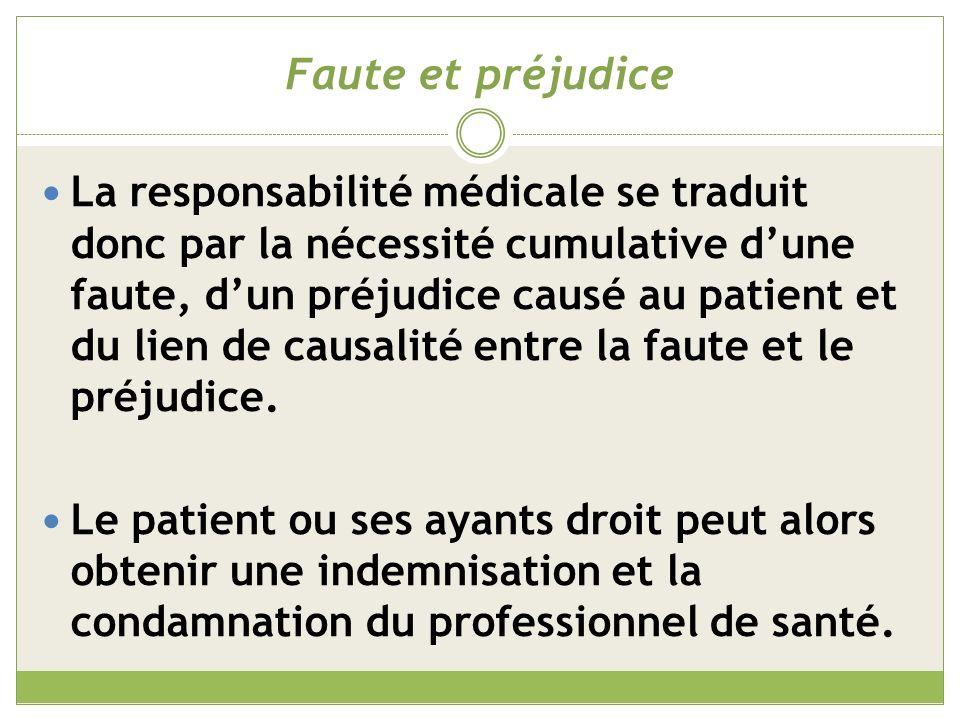 Une obligation de moyens Le résultat médical étant aléatoire, le médecin n est pas tenu de guérir un patient.