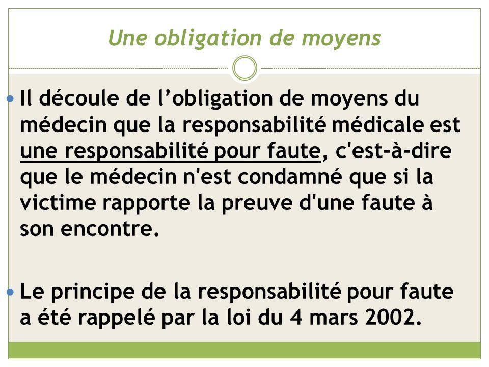 Quelles fautes peuvent entrainer une responsabilité médicale .
