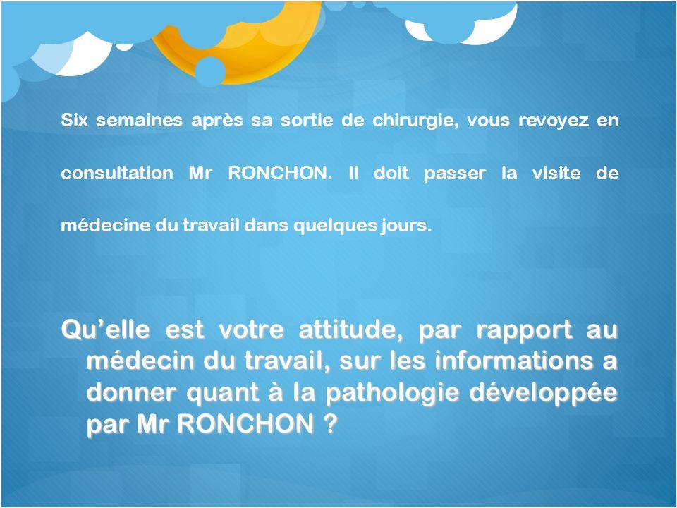 Quelle est votre attitude, par rapport au médecin du travail, sur les informations a donner quant à la pathologie développée par Mr RONCHON ? Six sema