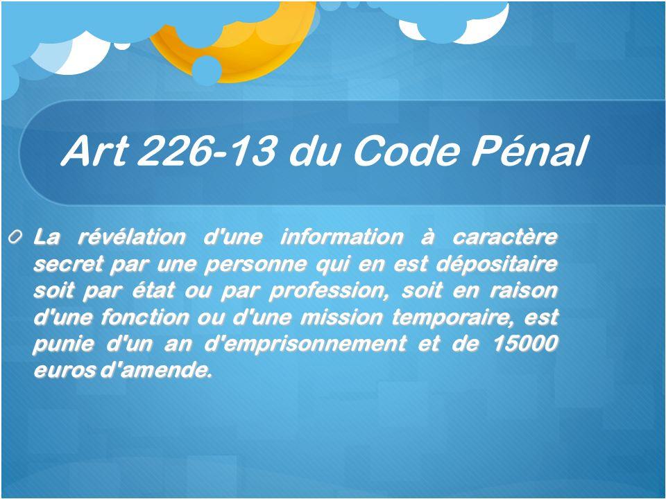Art 226-13 du Code Pénal La révélation d'une information à caractère secret par une personne qui en est dépositaire soit par état ou par profession, s
