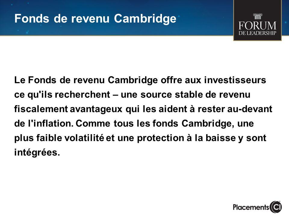 Le Fonds de revenu Cambridge offre aux investisseurs ce qu'ils recherchent – une source stable de revenu fiscalement avantageux qui les aident à reste