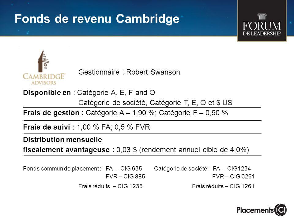 Fonds de revenu Cambridge Gestionnaire : Robert Swanson Disponible en : Catégorie A, E, F and O Catégorie de société, Catégorie T, E, O et $ US Frais