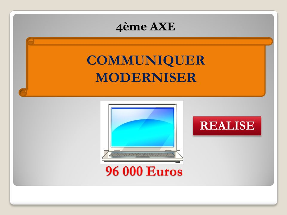 96 000 Euros 4ème AXE COMMUNIQUER MODERNISER REALISE