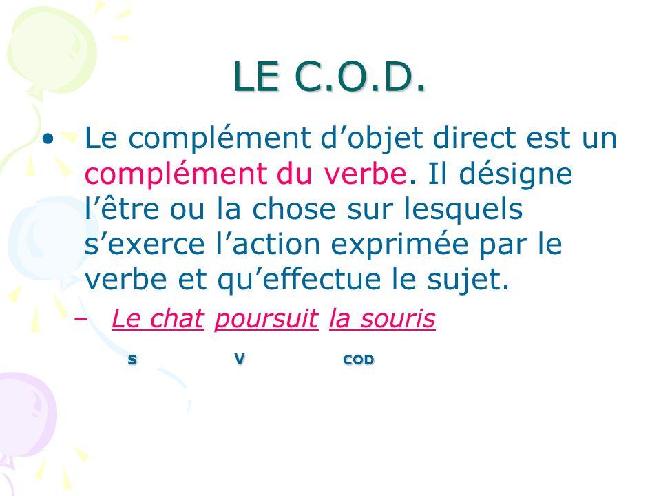 LE C.O.D. Le complément dobjet direct est un complément du verbe. Il désigne lêtre ou la chose sur lesquels sexerce laction exprimée par le verbe et q