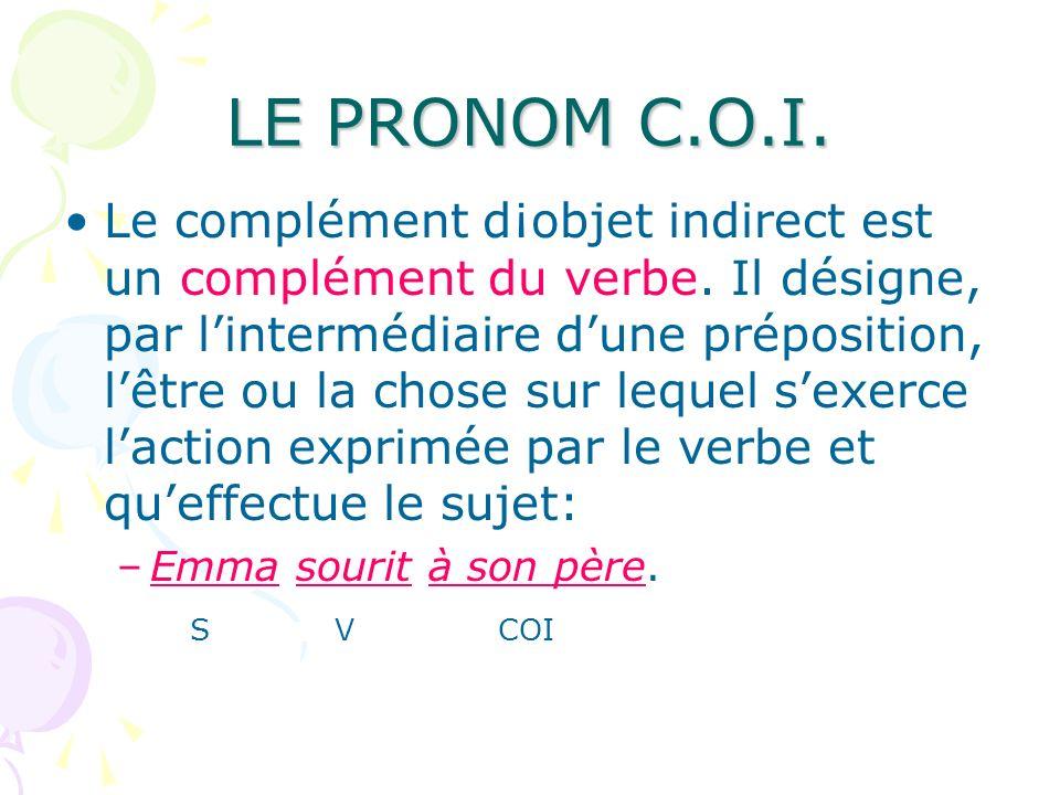 LE PRONOM C.O.I. Le complément d¡objet indirect est un complément du verbe. Il désigne, par lintermédiaire dune préposition, lêtre ou la chose sur leq