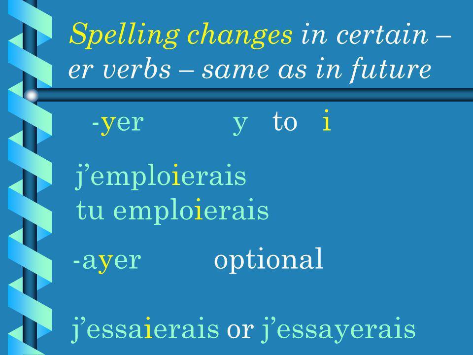 -yery to i Spelling changes in certain – er verbs – same as in future jemploierais tu emploierais -ayeroptional jessaierais or jessayerais