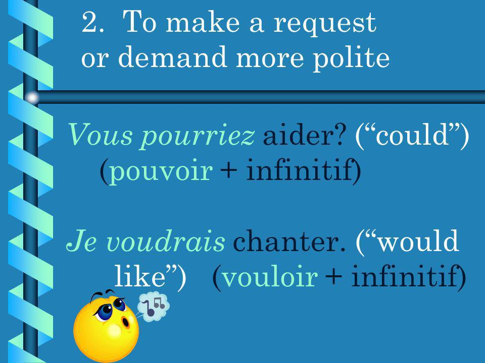 2.To make a request or demand more polite Vous pourriez aider.