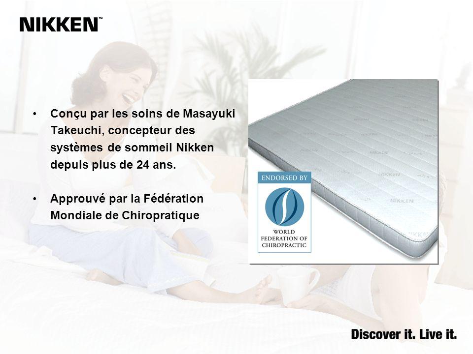 Conçu par les soins de Masayuki Takeuchi, concepteur des systèmes de sommeil Nikken depuis plus de 24 ans. Approuvé par la Fédération Mondiale de Chir