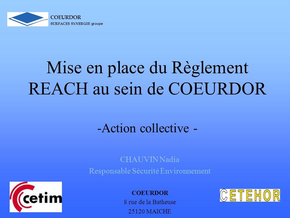 Mise en place du Règlement REACH au sein de COEURDOR -Action collective - CHAUVIN Nadia Responsable Sécurité Environnement COEURDOR 8 rue de la Batheu