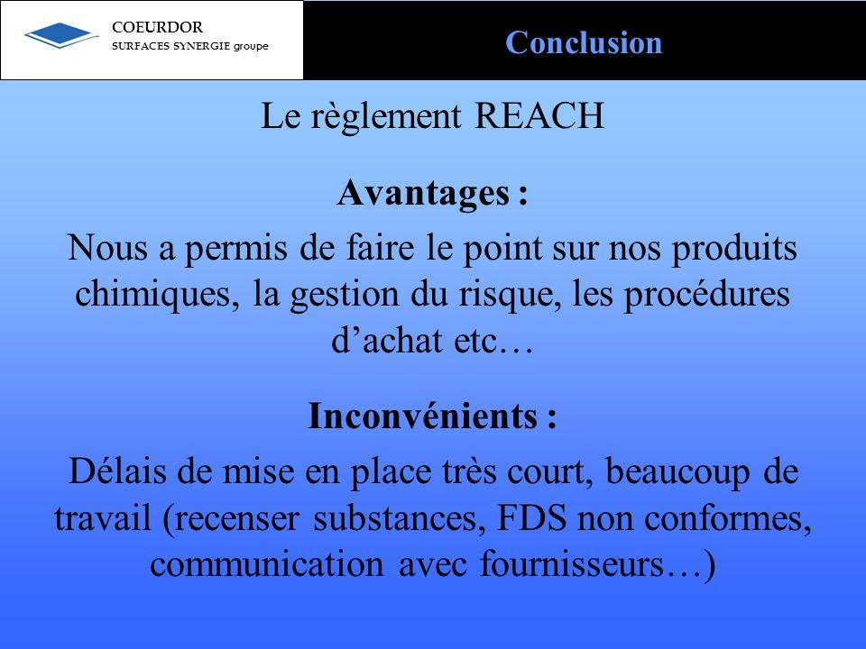 Le règlement REACH Avantages : Nous a permis de faire le point sur nos produits chimiques, la gestion du risque, les procédures dachat etc… Inconvénie