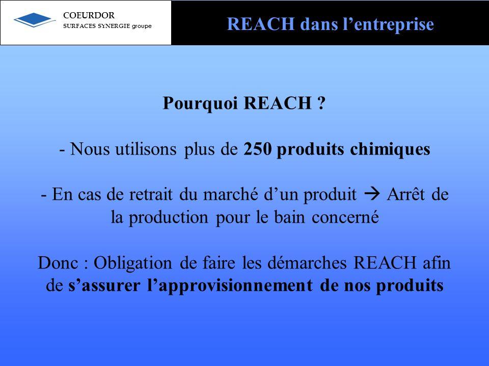 Pourquoi REACH ? - Nous utilisons plus de 250 produits chimiques - En cas de retrait du marché dun produit Arrêt de la production pour le bain concern
