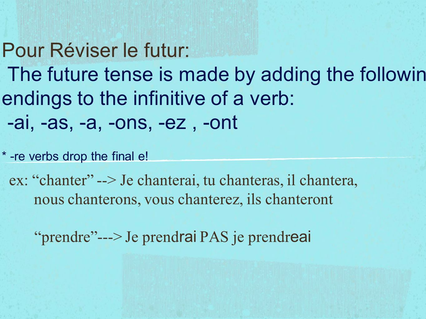 Pour Réviser le futur: The future tense is made by adding the following endings to the infinitive of a verb: -ai, -as, -a, -ons, -ez, -ont * -re verbs drop the final e.