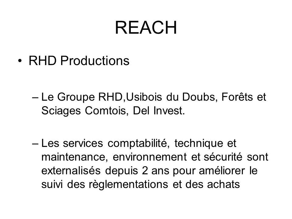 REACH RHD Productions –Le Groupe RHD,Usibois du Doubs, Forêts et Sciages Comtois, Del Invest. –Les services comptabilité, technique et maintenance, en