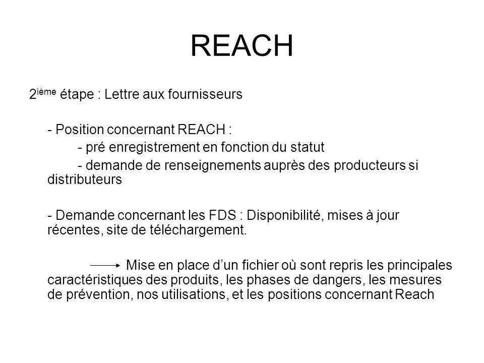 REACH 2 ième étape : Lettre aux fournisseurs - Position concernant REACH : - pré enregistrement en fonction du statut - demande de renseignements aupr