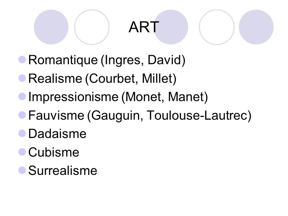 ART Romantique (Ingres, David) Realisme (Courbet, Millet) Impressionisme (Monet, Manet) Fauvisme (Gauguin, Toulouse-Lautrec) Dadaisme Cubisme Surrealisme