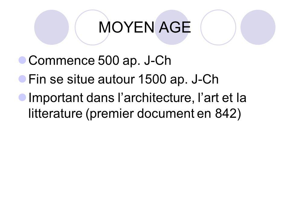 MOYEN AGE Commence 500 ap. J-Ch Fin se situe autour 1500 ap. J-Ch Important dans larchitecture, lart et la litterature (premier document en 842)