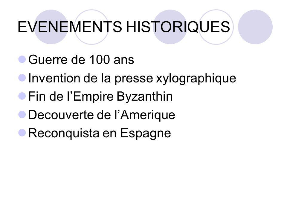 EVENEMENTS HISTORIQUES Guerre de 100 ans Invention de la presse xylographique Fin de lEmpire Byzanthin Decouverte de lAmerique Reconquista en Espagne