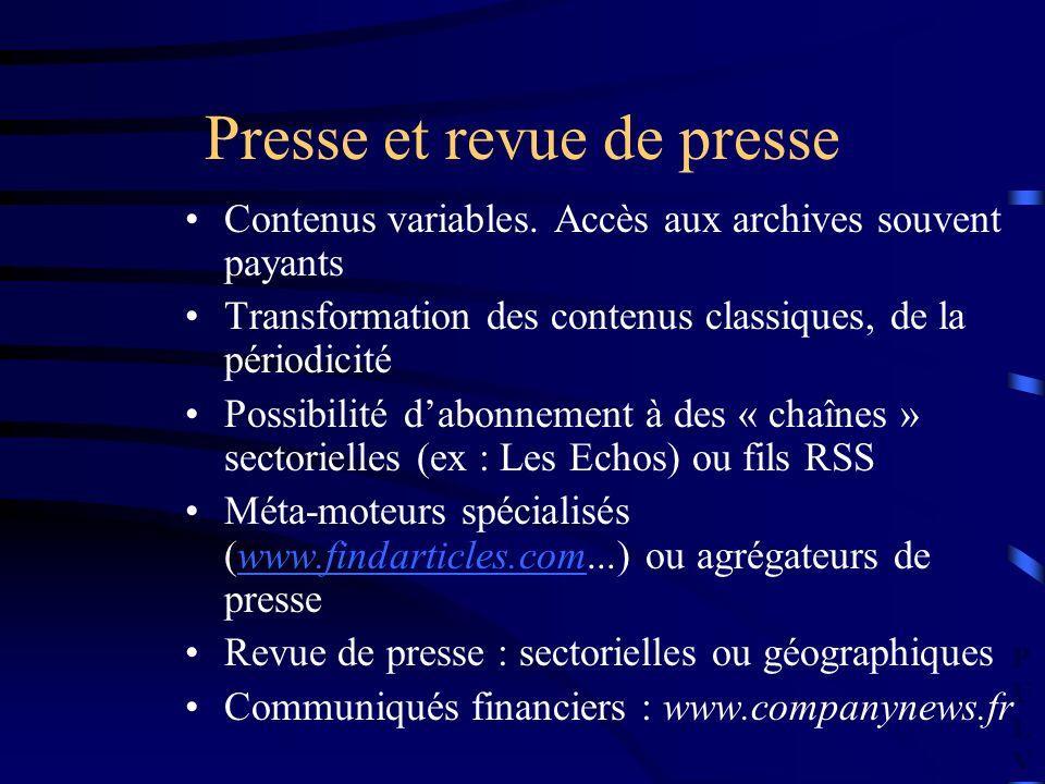 PULVPULV Presse et revue de presse Contenus variables. Accès aux archives souvent payants Transformation des contenus classiques, de la périodicité Po