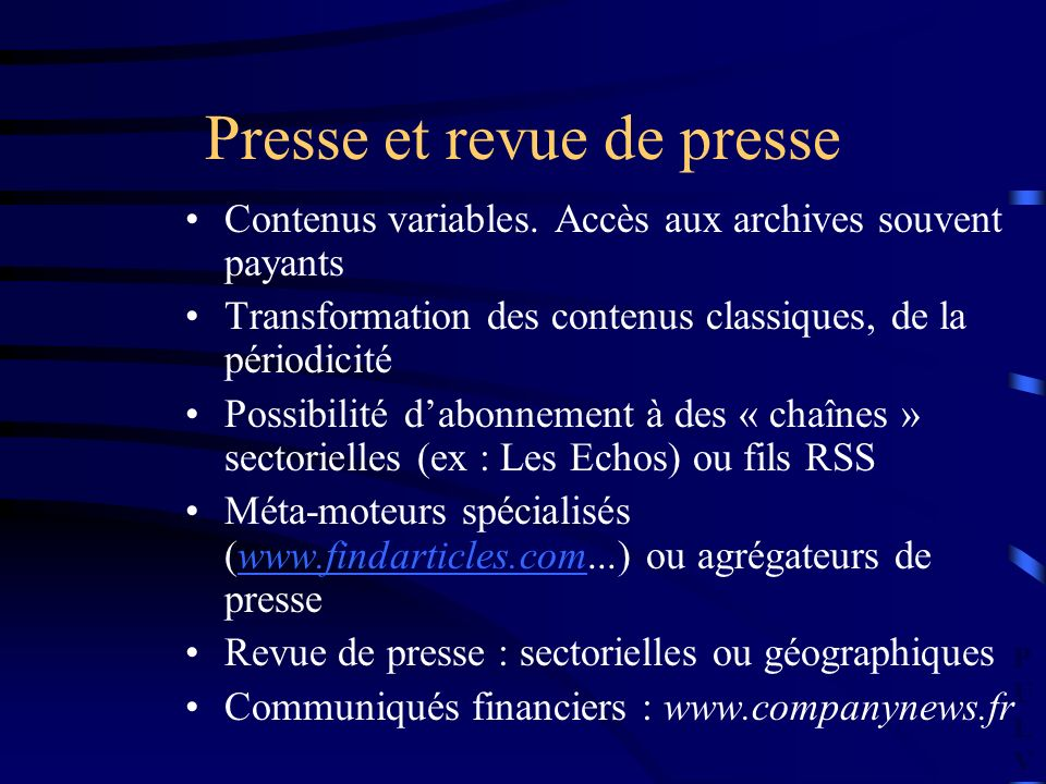 PULVPULV Presse et revue de presse Contenus variables.