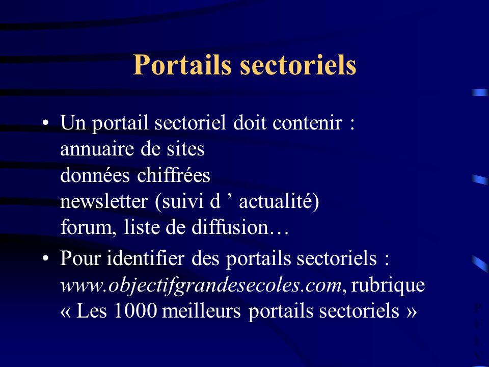 PULVPULV Portails sectoriels Un portail sectoriel doit contenir : annuaire de sites données chiffrées newsletter (suivi d actualité) forum, liste de d