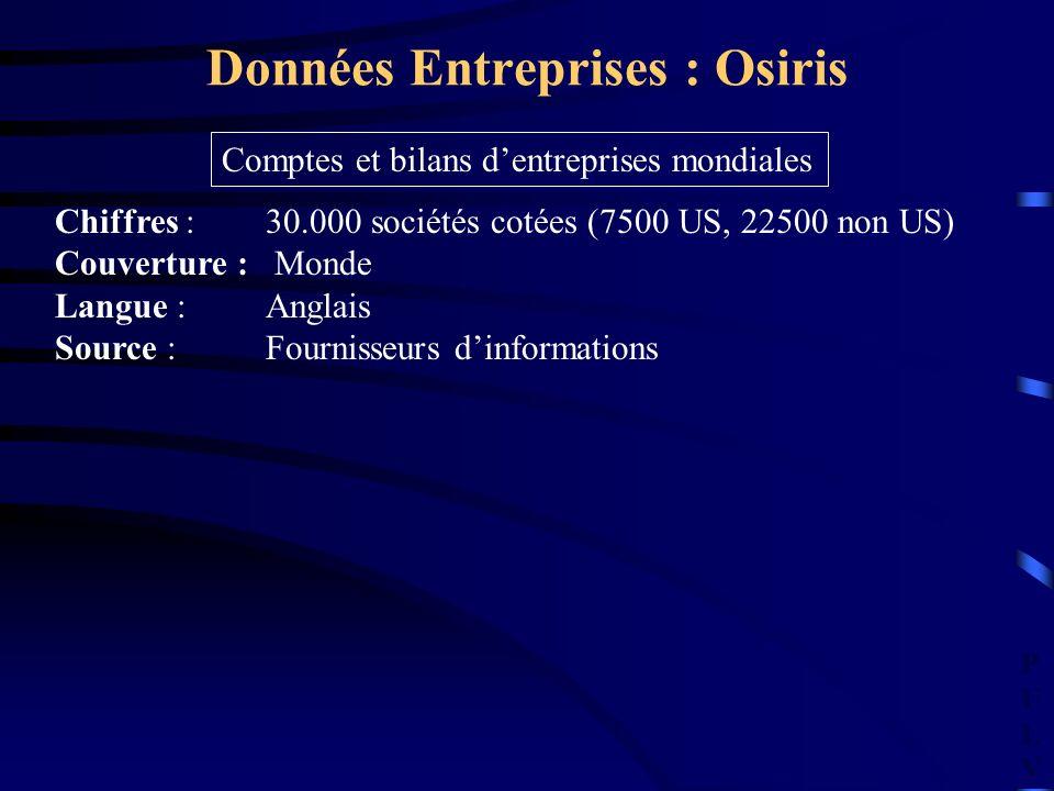 PULVPULV Données Entreprises : Osiris Chiffres : 30.000 sociétés cotées (7500 US, 22500 non US) Couverture : Monde Langue : Anglais Source :Fournisseu