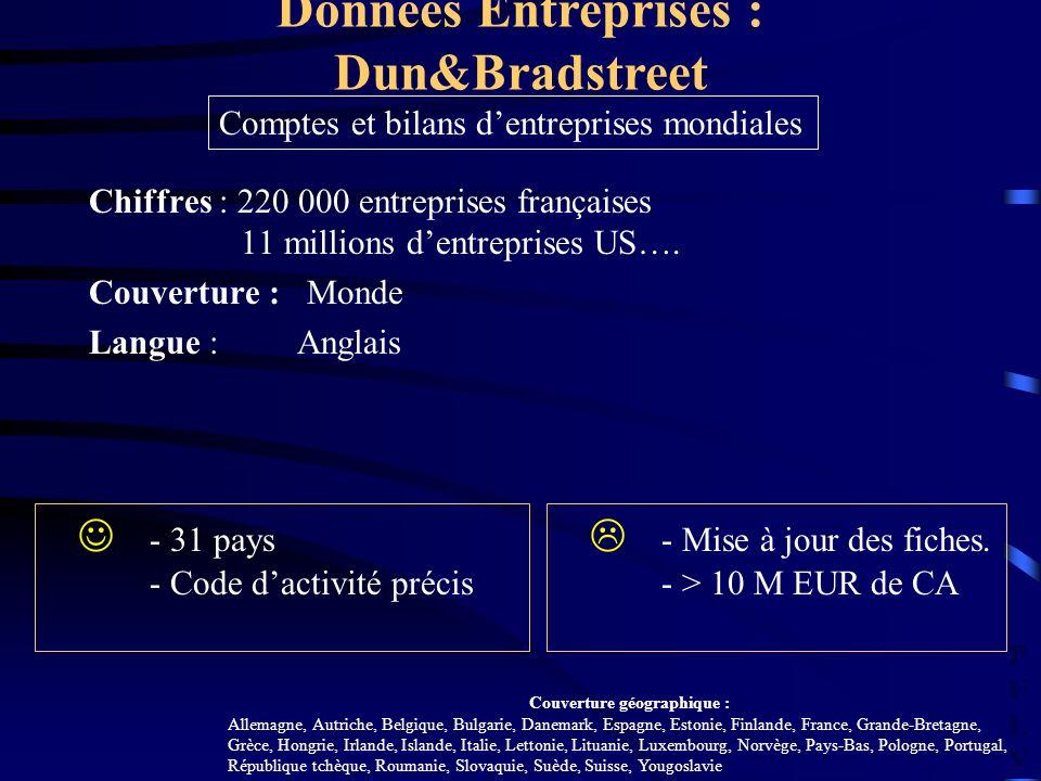 PULVPULV Chiffres : 220 000 entreprises françaises 11 millions dentreprises US…. Couverture : Monde Langue : Anglais Données Entreprises : Dun&Bradstr
