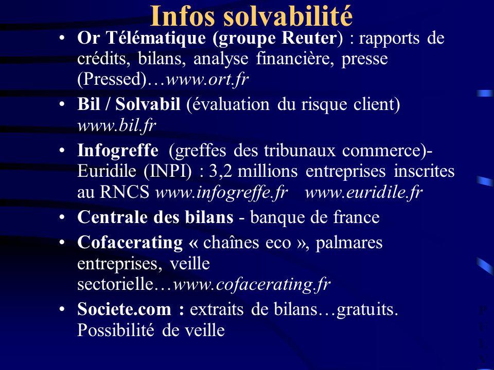 PULVPULV Infos solvabilité Or Télématique (groupe Reuter) : rapports de crédits, bilans, analyse financière, presse (Pressed)…www.ort.fr Bil / Solvabil (évaluation du risque client) www.bil.fr Infogreffe (greffes des tribunaux commerce)- Euridile (INPI) : 3,2 millions entreprises inscrites au RNCS www.infogreffe.fr www.euridile.fr Centrale des bilans - banque de france Cofacerating « chaînes eco », palmares entreprises, veille sectorielle…www.cofacerating.fr Societe.com : extraits de bilans…gratuits.