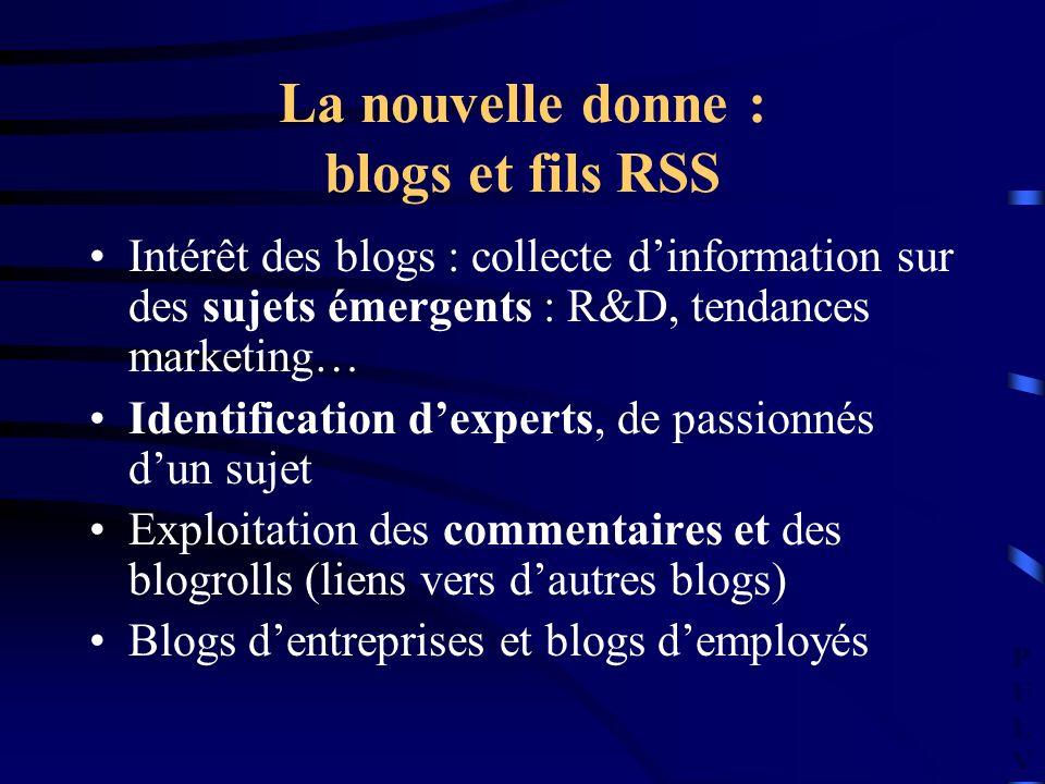 PULVPULV La nouvelle donne : blogs et fils RSS Intérêt des blogs : collecte dinformation sur des sujets émergents : R&D, tendances marketing… Identifi