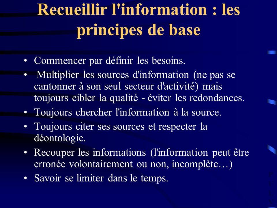 PULVPULV Recueillir l'information : les principes de base Commencer par définir les besoins. Multiplier les sources d'information (ne pas se cantonner