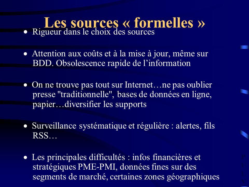 PULVPULV Les sources « formelles » Rigueur dans le choix des sources Attention aux coûts et à la mise à jour, même sur BDD.