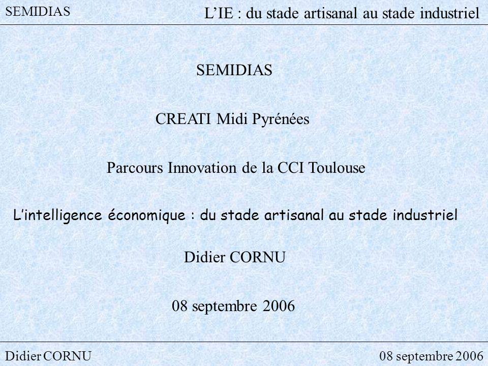 Didier CORNU08 septembre 2006 SEMIDIAS LIE : du stade artisanal au stade industriel Pour vous aider une norme expérimentale NF X50-053 (1998) Deux cas : - Mise en place dune cellule de veille - Collaboration avec un prestataire