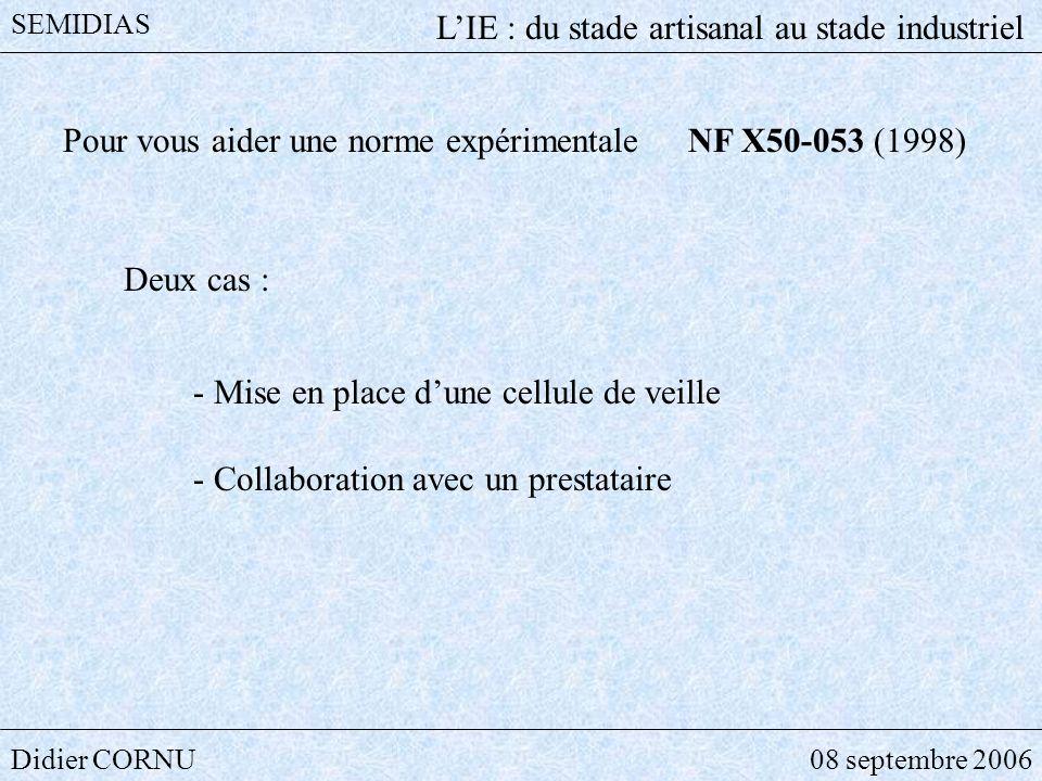 Didier CORNU08 septembre 2006 SEMIDIAS LIE : du stade artisanal au stade industriel Pour vous aider une norme expérimentale NF X50-053 (1998) Deux cas