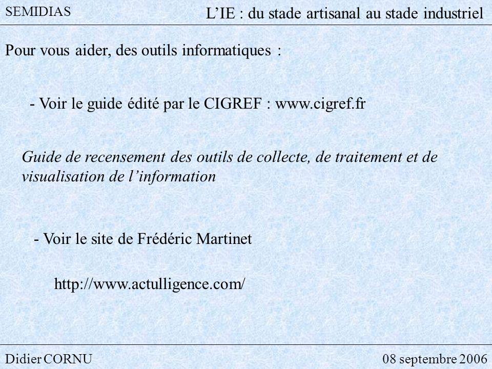 Didier CORNU08 septembre 2006 SEMIDIAS LIE : du stade artisanal au stade industriel Pour vous aider, des outils informatiques : - Voir le guide édité