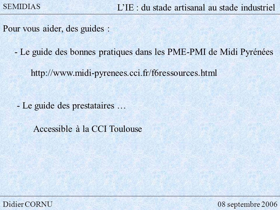 Didier CORNU08 septembre 2006 SEMIDIAS LIE : du stade artisanal au stade industriel Pour vous aider, des guides : http://www.midi-pyrenees.cci.fr/f6re