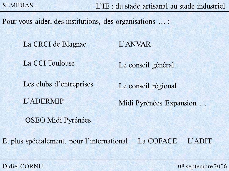 Didier CORNU08 septembre 2006 SEMIDIAS LIE : du stade artisanal au stade industriel Pour vous aider, des institutions, des organisations … : La CRCI d