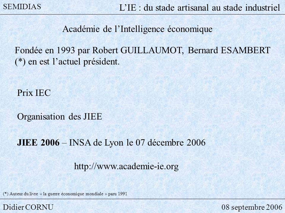 Didier CORNU08 septembre 2006 SEMIDIAS LIE : du stade artisanal au stade industriel Académie de lIntelligence économique Fondée en 1993 par Robert GUI