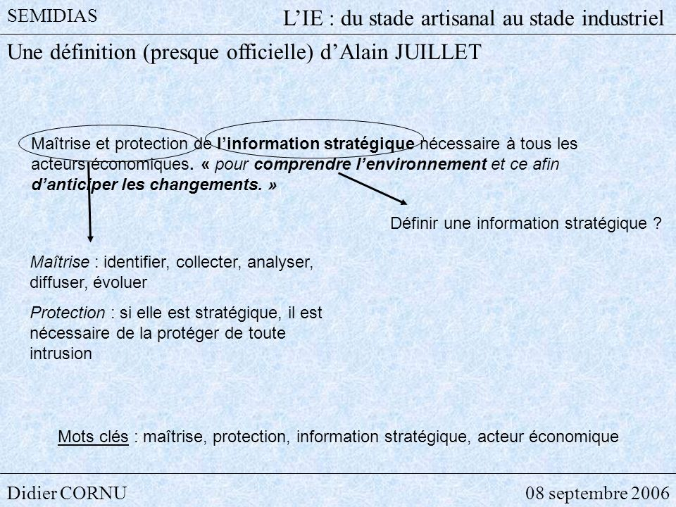 Didier CORNU08 septembre 2006 SEMIDIAS LIE : du stade artisanal au stade industriel Qui dit Intelligence économique, dit Information.