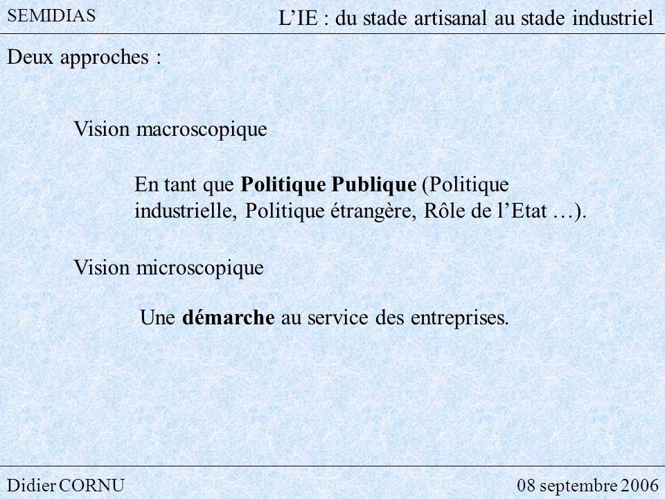 Didier CORNU08 septembre 2006 SEMIDIAS LIE : du stade artisanal au stade industriel Deux approches : Vision macroscopique En tant que Politique Publiq
