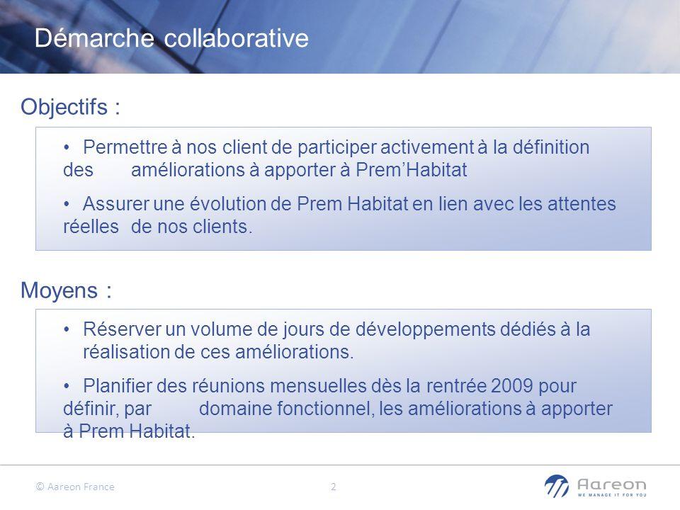 © Aareon France 2 Démarche collaborative Permettre à nos client de participer activement à la définition des améliorations à apporter à PremHabitat As