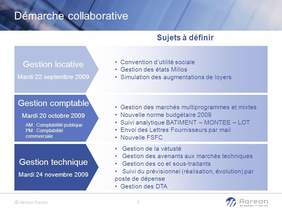 © Aareon France 5 Gestion locative Mardi 22 septembre 2009 Gestion comptable Mardi 20 octobre 2009 AM : Comptabilité publique PM : Comptabilité commer