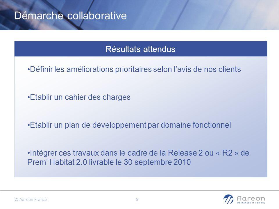 © Aareon France 6 Résultats attendus Définir les améliorations prioritaires selon lavis de nos clients Etablir un cahier des charges Etablir un plan d