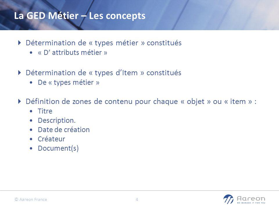 © Aareon France 4 La GED Métier – Les concepts Détermination de « types métier » constitués « D attributs métier » Détermination de « types dItem » co