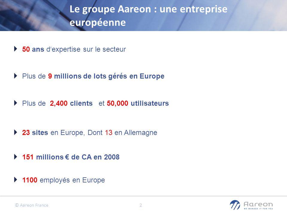 © Aareon France 2 Le groupe Aareon : une entreprise européenne 1100 employés en Europe 151 millions de CA en 2008 23 sites en Europe, Dont 13 en Allem
