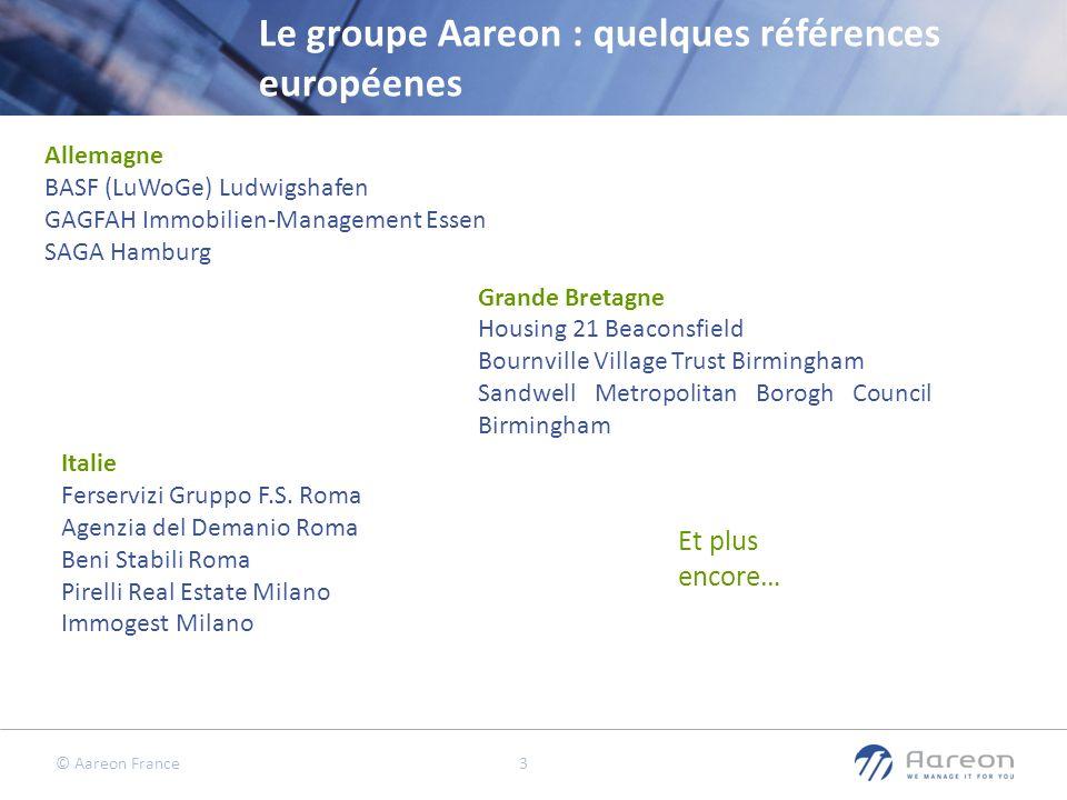 © Aareon France 3 Le groupe Aareon : quelques références européenes Allemagne BASF (LuWoGe) Ludwigshafen GAGFAH Immobilien-Management Essen SAGA Hambu