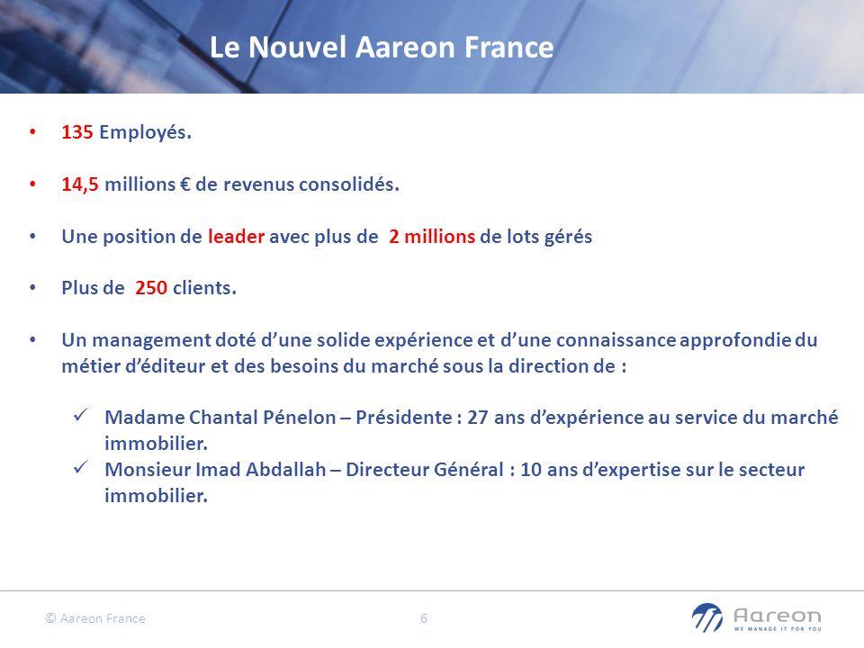 © Aareon France 6 135 Employés. 14,5 millions de revenus consolidés. Une position de leader avec plus de 2 millions de lots gérés Plus de 250 clients.