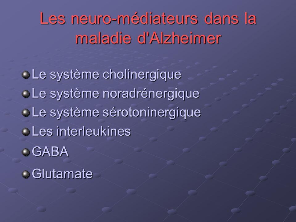 Les neuro-médiateurs dans la maladie d'Alzheimer Le système cholinergique Le système noradrénergique Le système sérotoninergique Les interleukines GAB